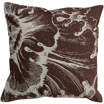 Graphic Rossette Screen Print Linen Throw Pillow Color: Brown