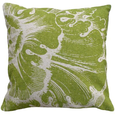 Graphic Rossette Screen Print Linen Throw Pillow Color: Green