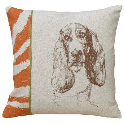 Dog Basset Hound Screen Print Linen Throw Pillow