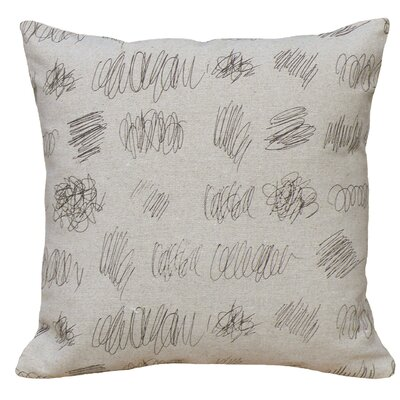Graphic Scribbles Screen Print Linen Throw Pillow