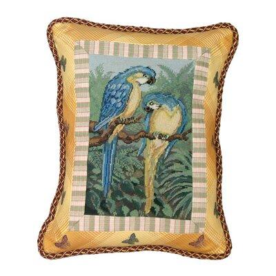 Parrot Petit-Point Wool Lumbar Pillow
