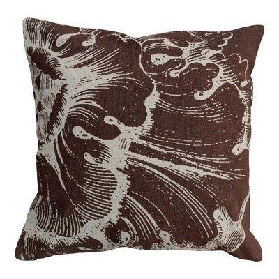 Rosette Linen Throw Pillow Color: Brown