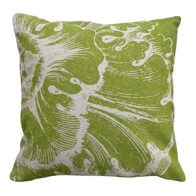 Rosette Linen Throw Pillow Color: Green