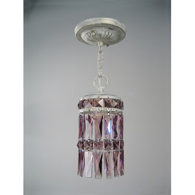 Cascade 1-Light Mini pendant Finish: Antique White, Shade Color: Amethyst