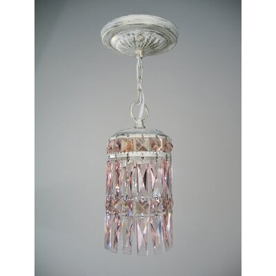 Cascade 1-Light Mini pendant Finish: Antique White, Shade Color: Rose