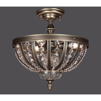 Terragona 3-Light Semi Flush Mount Finish: Roman Bronze, Crystal: Crystalique Plus