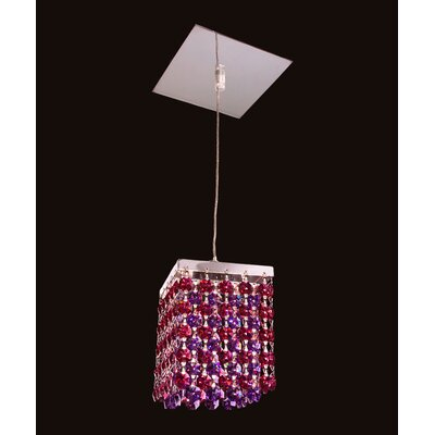 Bedazzle 1-Light Mini Pendant Shade Color: Bordeaux Red and Blue-Violet