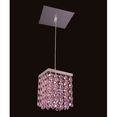 Bedazzle 1-Light Mini Pendant Shade Color: Rosaline Pink