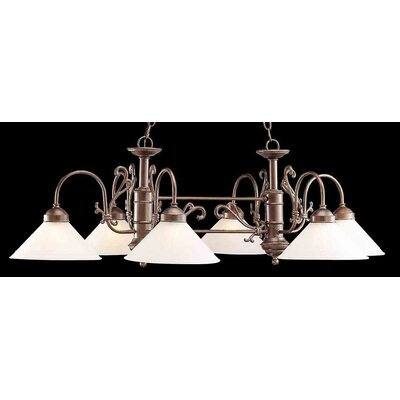 Billings 6-Light Kitchen Island Pendant Finish: English Bronze, Shade Color: Frosted Glass