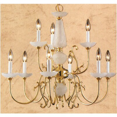 Bloomington 9-Light Candle-Style Chandelier Finish: Polished Brass