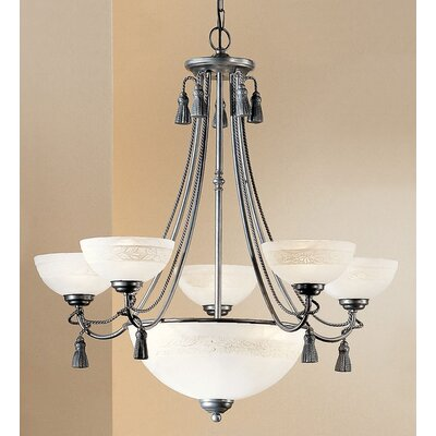 Rope and Tassel 6-Light Shaded Chandelier