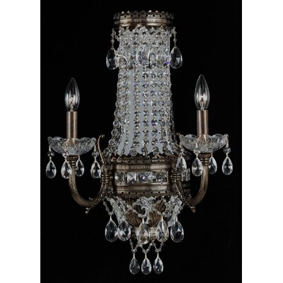 Alpha 2-Light Crystal Chandelier Finish: Golden Bronze