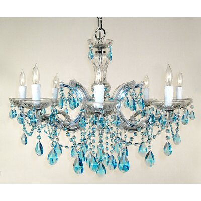 Rialto 8-Light Crystal Chandelier Finish: Chrome, Crystal: Crystalique Sapphire