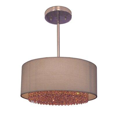 Newport 3-Light Drum Pendant Crystal: Swarovski Elements Rosaline Pink