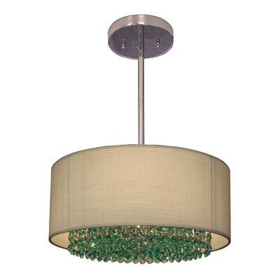 Newport 3-Light Drum Pendant Crystal: Crystalique-Plus Antique Green
