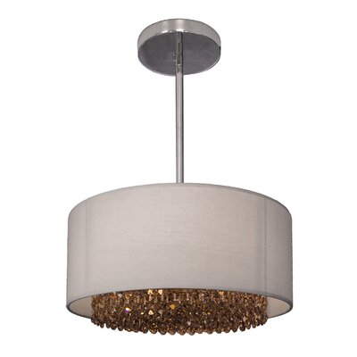 Newport 3-Light Drum Pendant Crystal: Crystalique-Plus Golden Teak