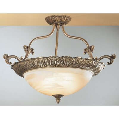 Montego Bay 4-Light Semi Flush Mount Size: 18 H x 28 W x 28 D, Finish: Sorrento Gold