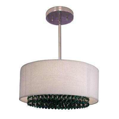 Newport 3-Light Drum Pendant Crystal: Swarovski Elements Emerald