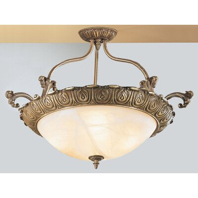 Montego Bay 4-Light Semi Flush Mount Size: 20 H x 32 W x 32 D, Finish: Roman Bronze