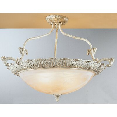 Montego Bay 4-Light Semi Flush Mount Size: 20 H x 32 W x 32 D, Finish: Sorrento Gold