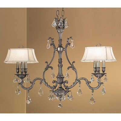 Majestic 6-Light Shaded Chandelier Shade: White