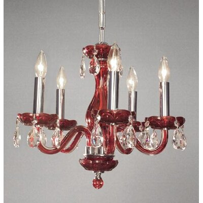 Monaco 5-Light Crystal Chandelier Finish: Red, Crystal: Crystalique-Plus
