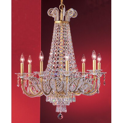 Beaded Leaf 8-Light Crystal Chandelier Crystal: Drops Clear Crystalique-Plus, Finish: Olde Gold