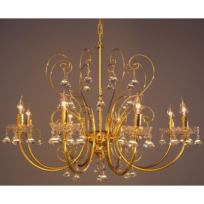 Belleair 8-Light Crystal Chandelier Finish: Gold Plate