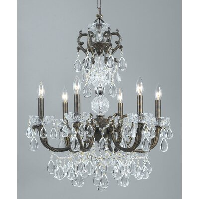 Vienna Palace 6-Light Crystal Chandelier Finish: English Bronze/Gold