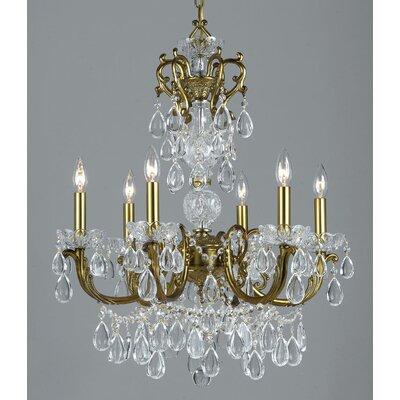 Vienna Palace 6-Light Crystal Chandelier Finish: Renovation Brass