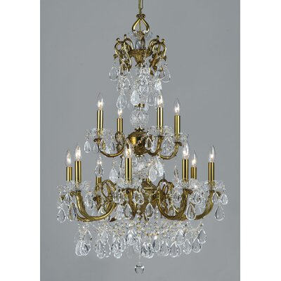 Vienna Palace 12-Light Crystal Chandelier Finish: Renovation Brass