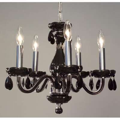 Monaco 5-Light Crystal Chandelier Finish: White, Crystal: Pink