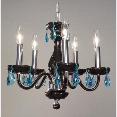 Monaco 5-Light Crystal Chandelier Finish: Black, Crystal: Crystalique Sapphire