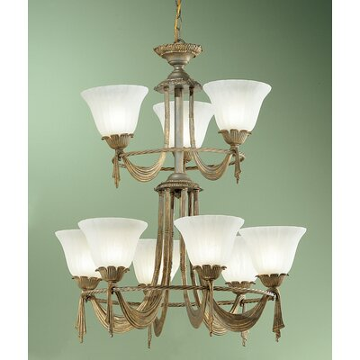 Saratoga 9-Light Shaded Chandelier Finish: Weathered Gold