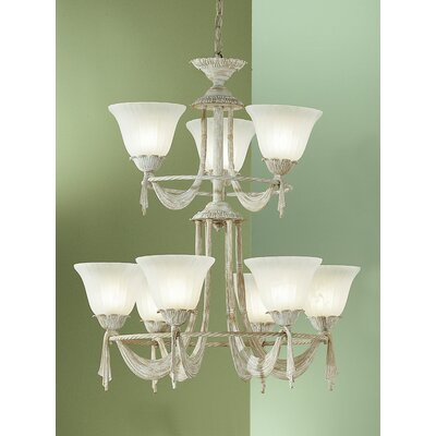 Saratoga 9-Light Shaded Chandelier Finish: White Wash