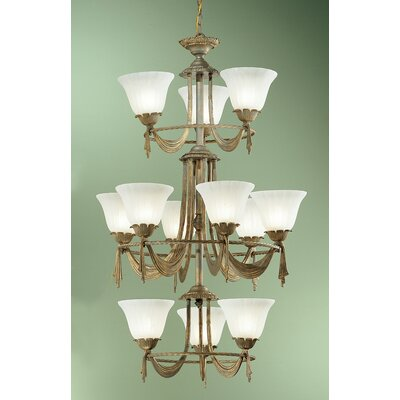 Saratoga 12-Light Shaded Chandelier Finish: Weathered Gold