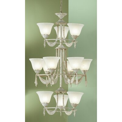 Saratoga 12-Light Shaded Chandelier Finish: White Wash
