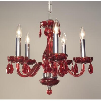 Monaco 5-Light Crystal Chandelier Finish: Red, Crystal: Crystalique Red