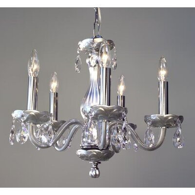 Monaco 5-Light Crystal Chandelier Finish: Silver Painted, Crystal: Crystalique-Plus