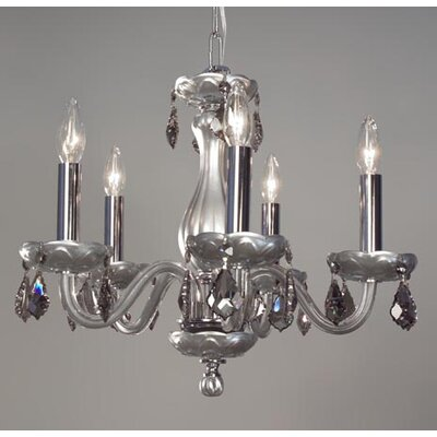Monaco 5-Light Crystal Chandelier Finish: Silver Painted, Crystal: Crystalique-Plus Smoke