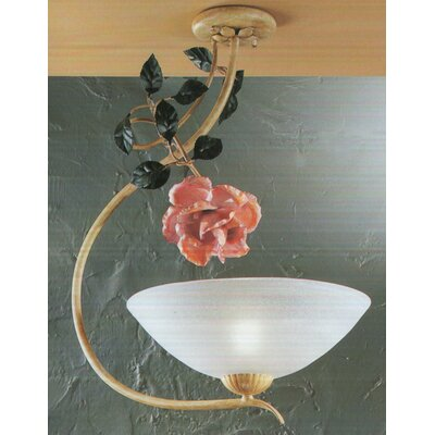 Floral 1-Light Semi Flush Mount