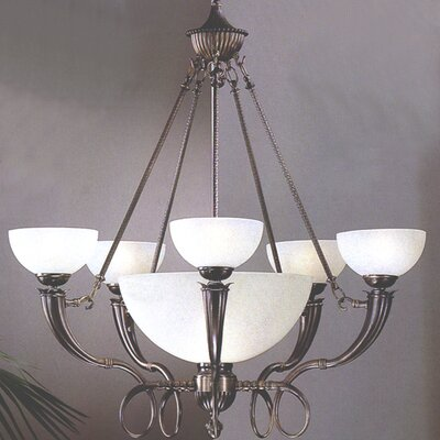 French Horn 6-Light Shaded Chandelier