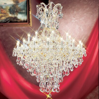 Maria Thersea 25-Light Crystal Chandelier Crystal Type: Swarovski Spectra, Finish: Olde World Gold