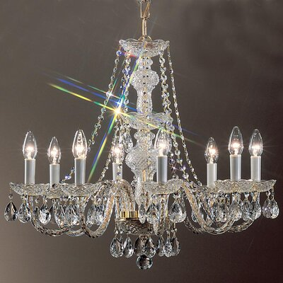 Monticello 8-Light Crystal Chandelier Finish: Gold Plated