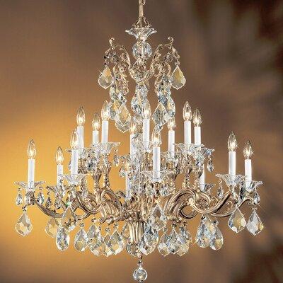 Via Firenze 16 Light Chandelier Crystal Type: Italian Rock Clear, Finish: Silver Plate