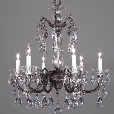 Via Lombardi 6-Light Crystal Chandelier Finish: 24k Gold Plate, Crystal Type: Crystalique Black