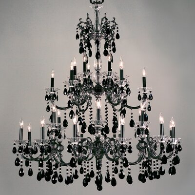 Via Lombardi 30-Light Crystal Chandelier Crystal Type: Crystalique Black, Finish: Ebony Pearl
