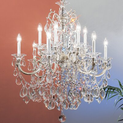 Via Venteo 12-Light Crystal Chandelier Crystal Type: Crystalique Golden Teak, Finish: Millenium Silver