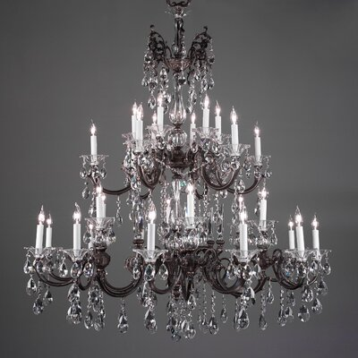 Via Lombardi 30-Light Crystal Chandelier Crystal Type: Crystalique Black, Finish: Millenium Silver