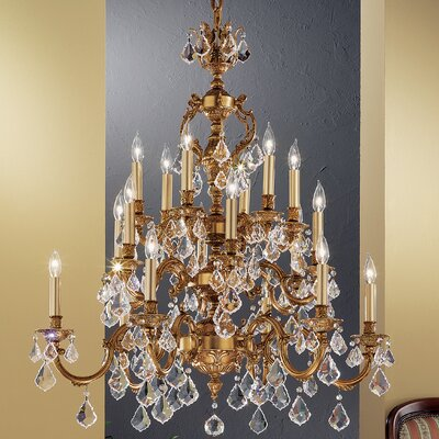 Chateau 18-Light Crystal Chandelier Crystal Type: Crystalique Golden Teak, Finish: Aged Pewter